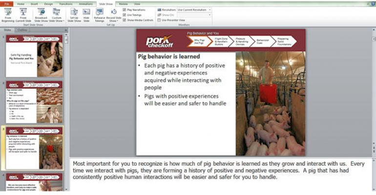 The multimedia Safe Pig Handling education tool is designed for smallgroup or oneonone training of employees in a swine operation It is also set up to run independent of the Internet if needed providing PowerPoint and PDF versions as well