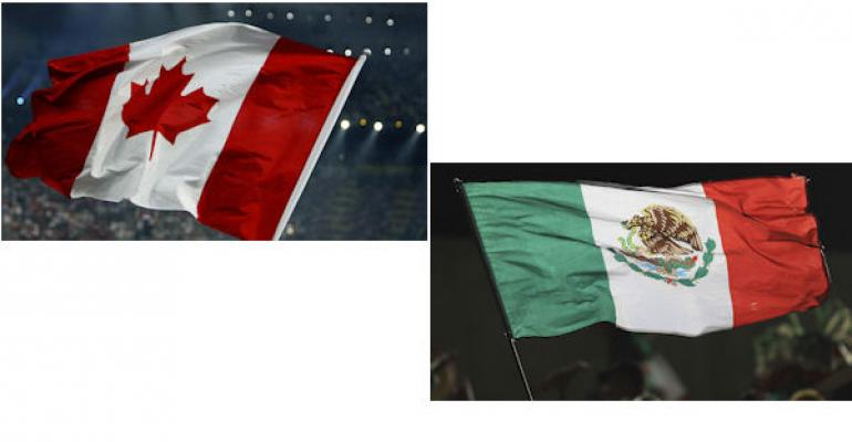 Canadian and Mexican flags