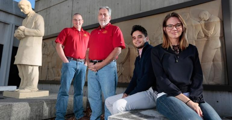 ISU veterinary researchers from left Drew Magstadt Kent Schwartz Paulo Arruda and Bailey Arruda worked to pinpoint a pestivirus that causes congenital tremors in young pigs