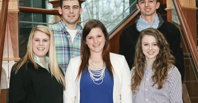 The Maschhoffs Pork Production NJSA 2015 Scholarship winners front row from left Morgan Cox Danika Miller and Lexi Marek back row Jackson Johnson and Caleb Grohmann