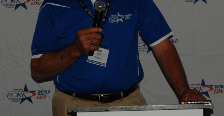 John Weber NPPC president during the World Pork Expo discusses the top legislative issues the organization is facing this year