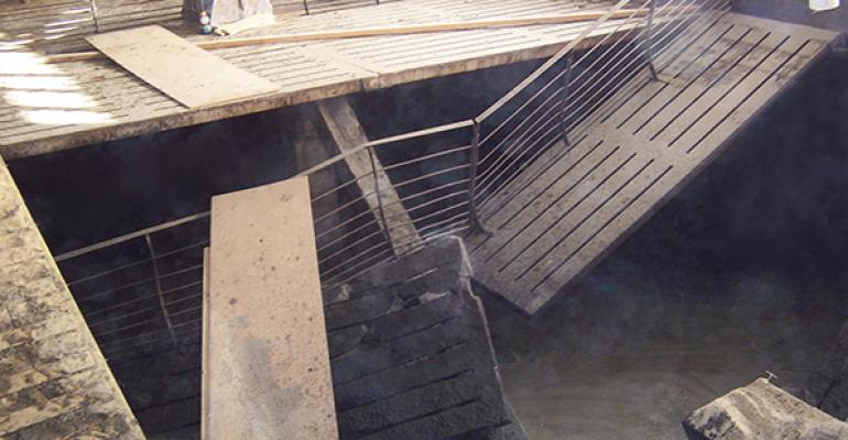 Proper placement of the floor support beam in the supporting post would have prevented this floor collapse