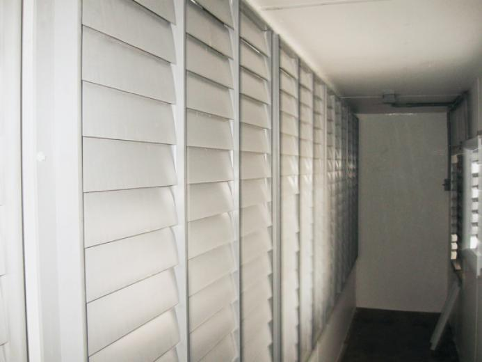 Interior set of shutters for installed, patent-pending Z-wall fan house.