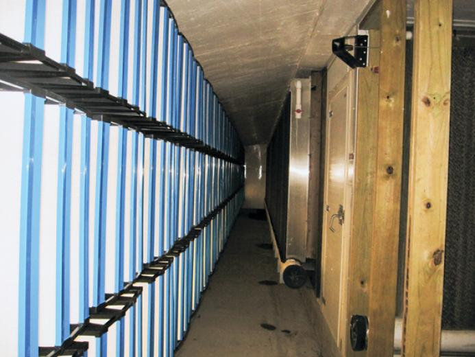 Typically installed 6-ft. high filter bank for sidewall cool cell.