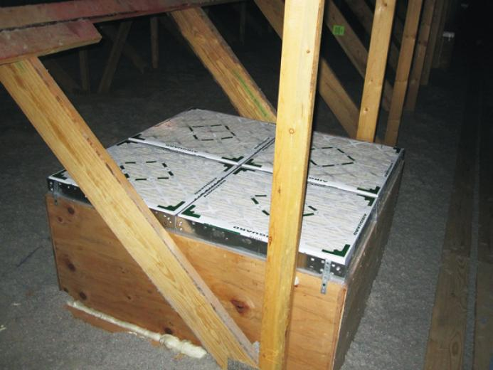 Filter box with four filter assemblies used on a 2,700-cfm ceiling inlet.