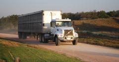 Livestock truck on a gravel road