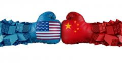 U.S.-China trade battle. boxing gloves illustration
