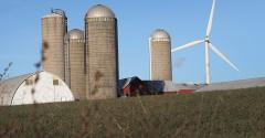 farmstead, silos, wind turbine