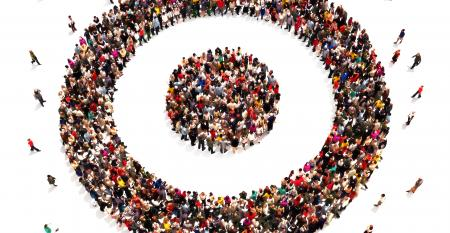People on target with there goals and carrier choices concept. Large group of people in the shape of a target symbol.