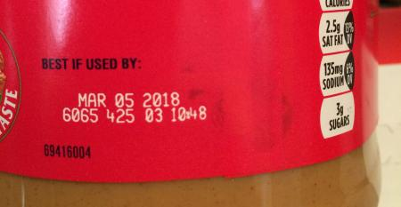 Best if used by date on a jar of peanut butter