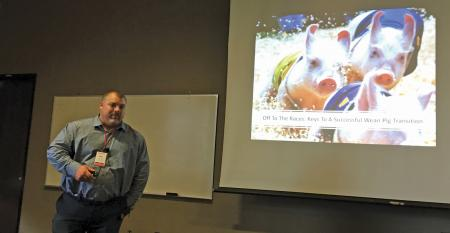 Matt Grimm, wean-to-finish operation manager with Cactus Family Farms, stresses the importance of making the transition for weaned pigs as comfortable as possible, so that they can hit peak performance.