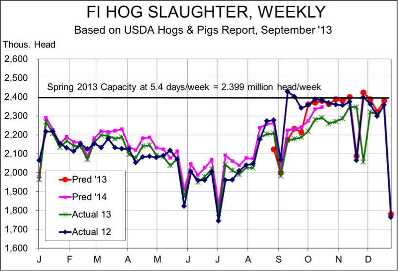 weekly hog slaughter